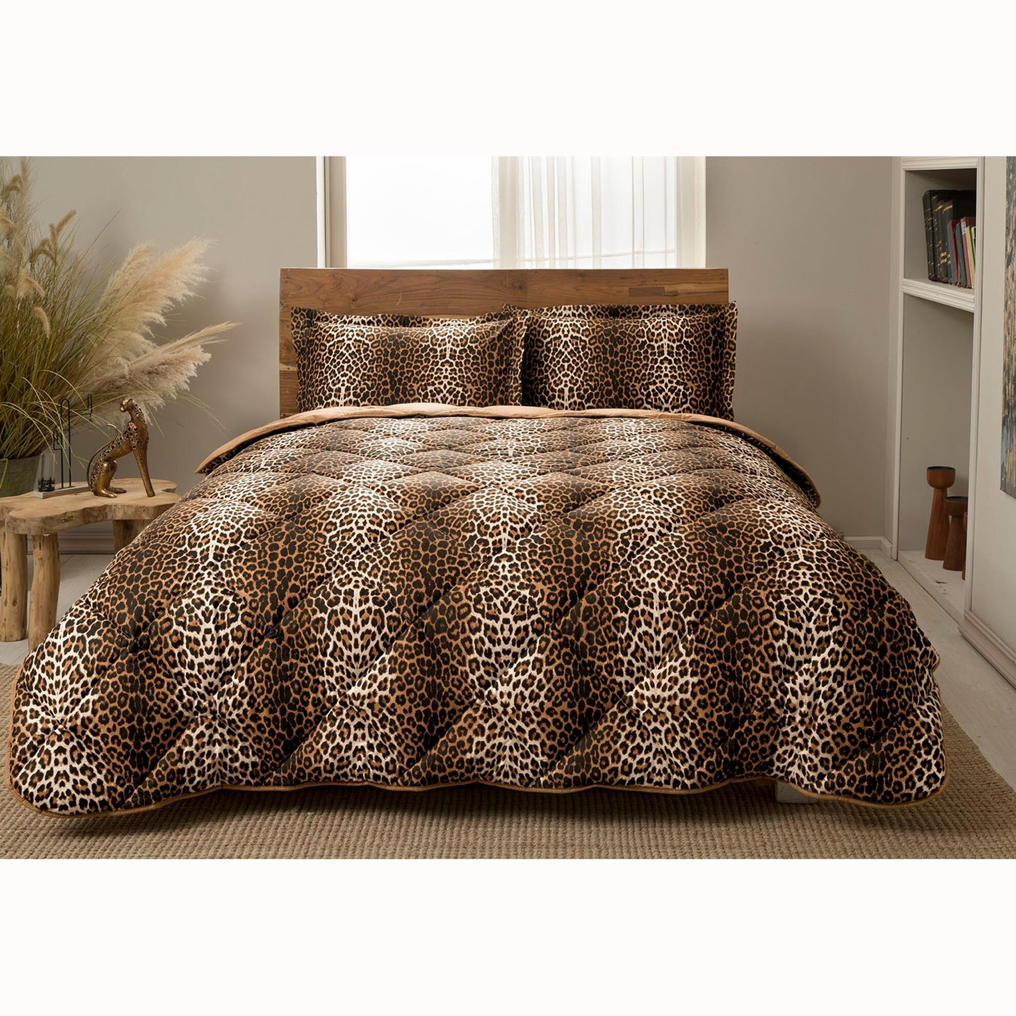 resm Taç Leopard Tek Kişilik Yorgan Seti
