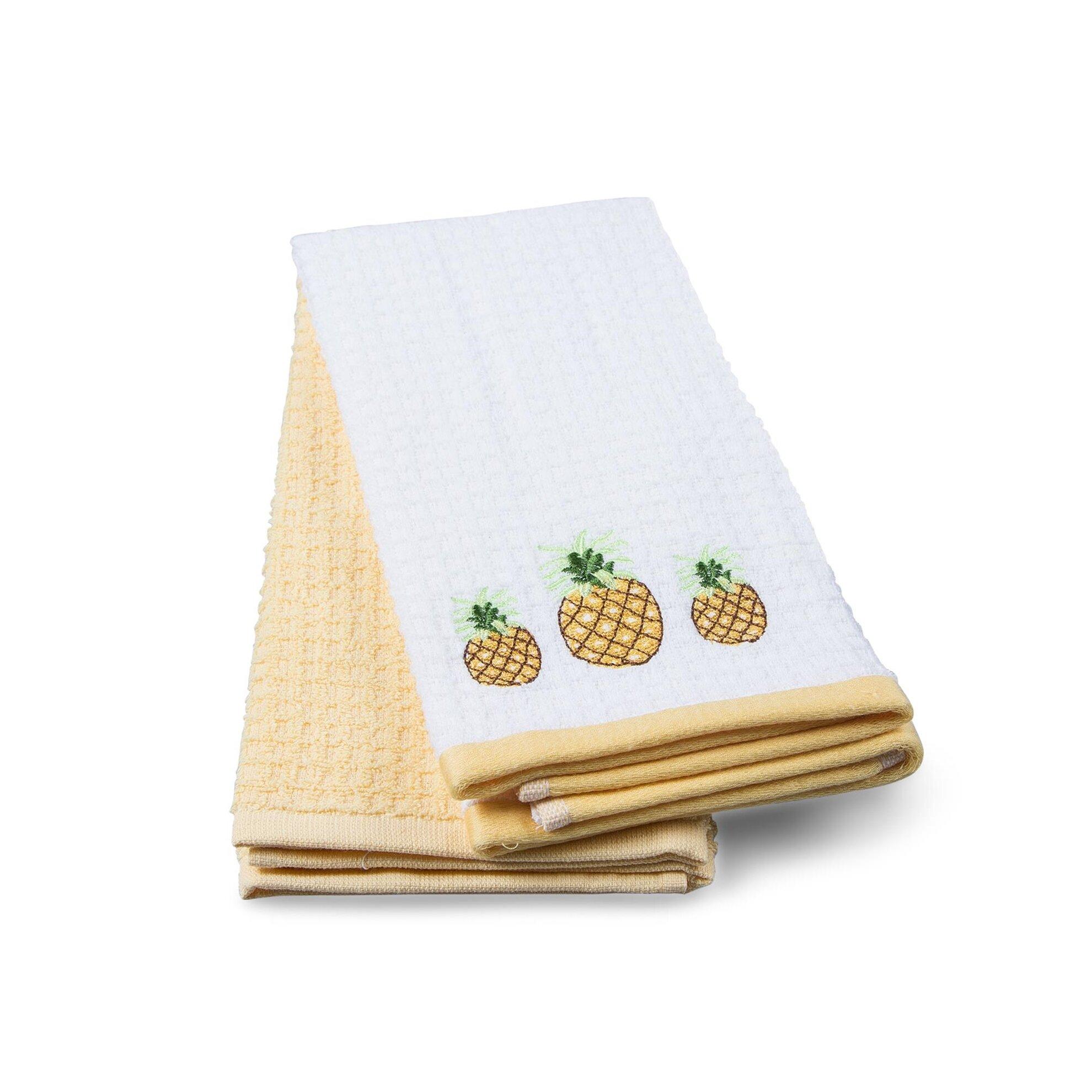 resm Taç Pineapple Pamuk Mutfak Havlusu Sarı