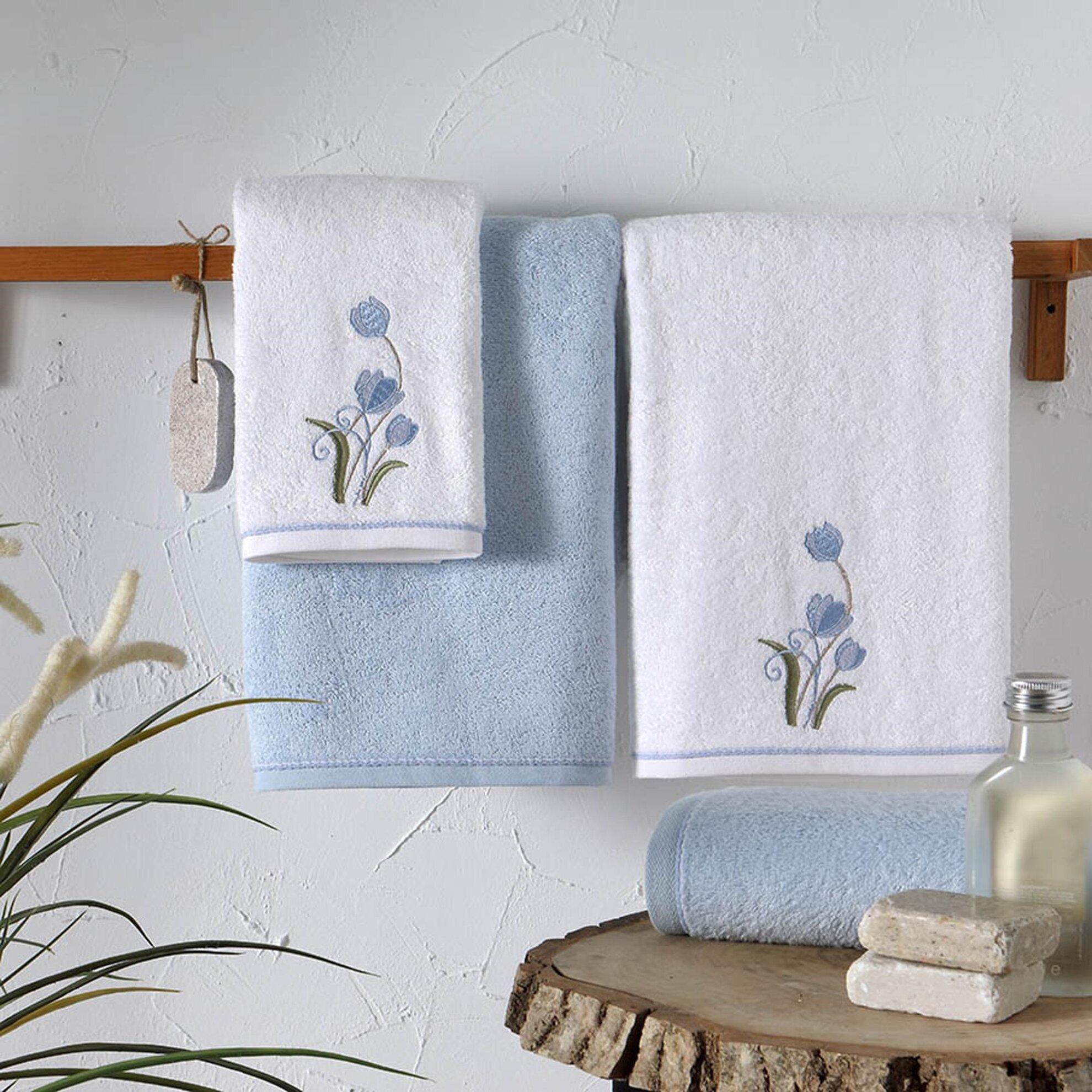 resm Taç Carmen Bambu Hamam Setleri Beyaz-Mavi