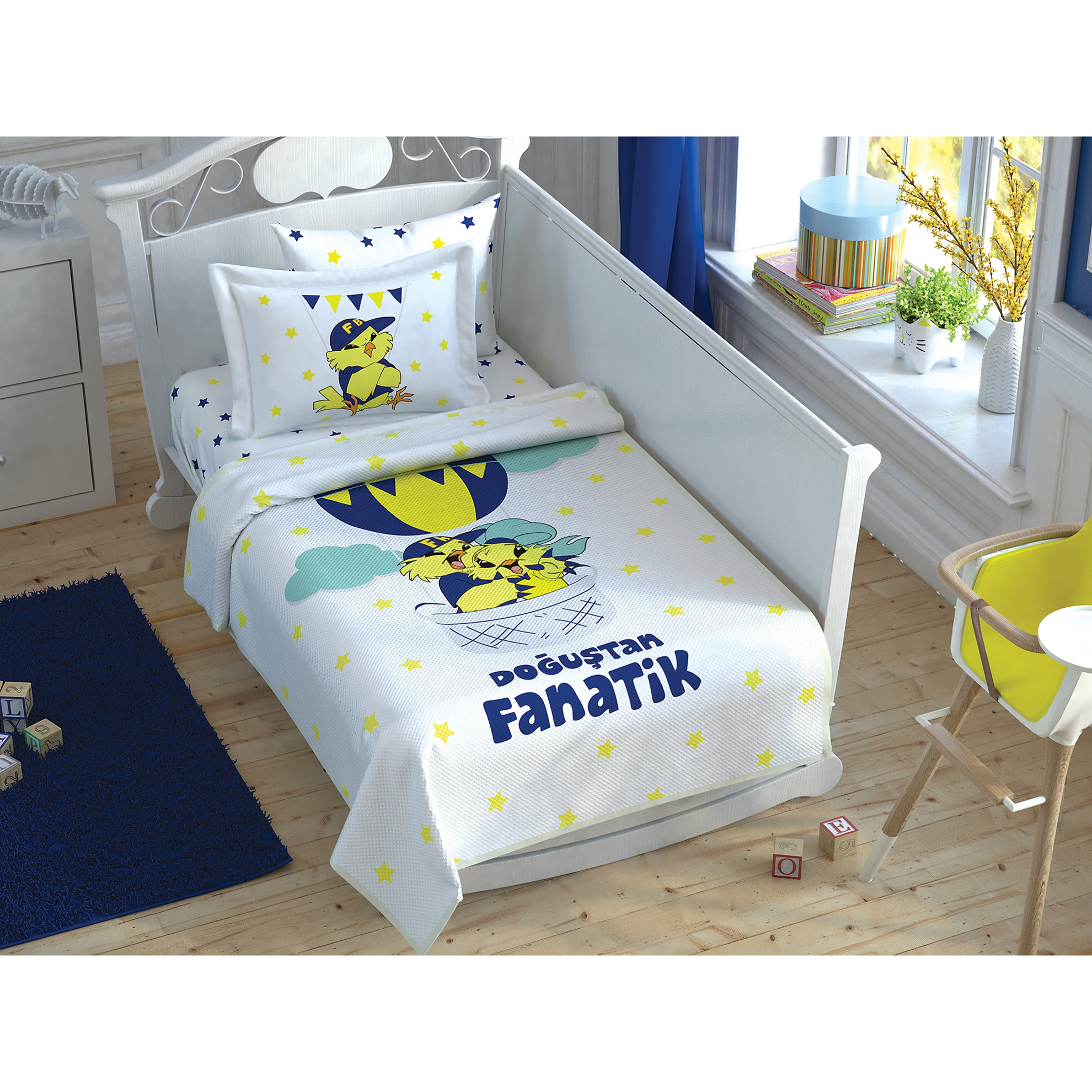 resm Taç Fenerbahçe Sarı Kanarya Fanatik Baby Bebek Pike Takımı