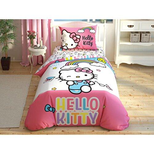 Resim Taç Hello Kitty Rainbow Nevresim Takımı