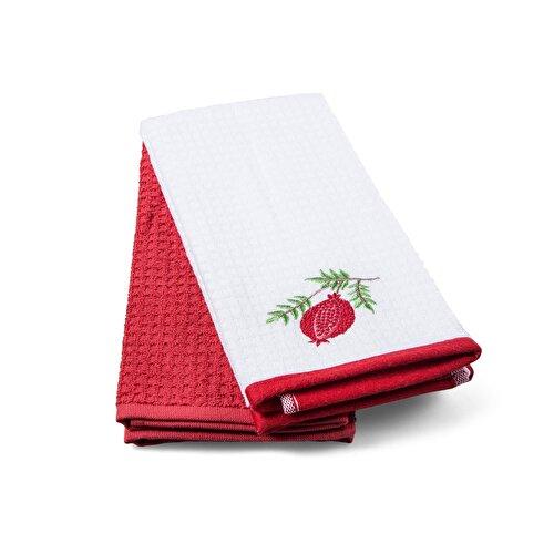 Resim Taç Pomegranate Pamuk Mutfak Havlusu Kırmızı