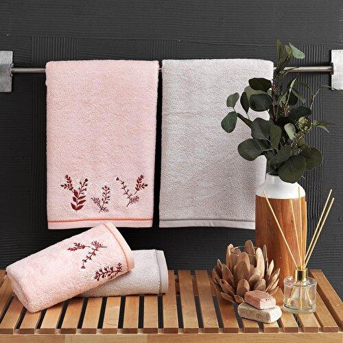 Resim Taç Herda Bambu Hamam Setleri Somon-Vizon